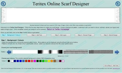 Screenshot from our online jacquard knitted football soccer scarves designer