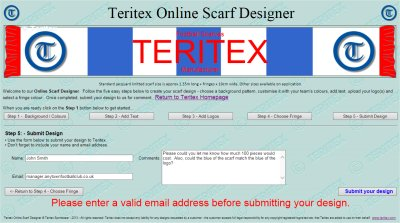 Image of online football scarf designer to illustrate top scarf design tip - use Teritex online designer