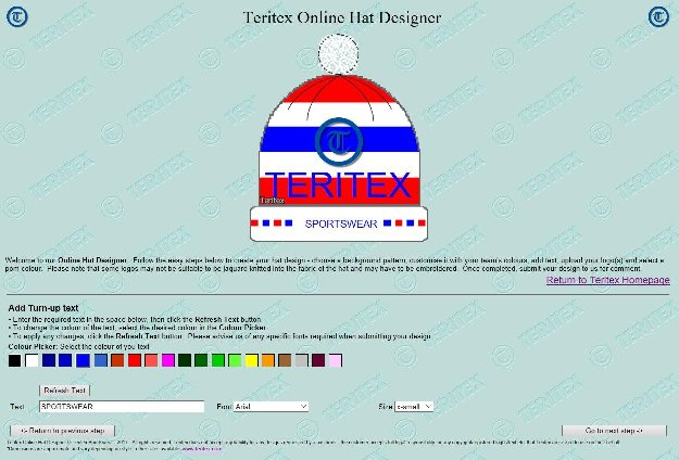 Teritex Online Hat Designer - User Guide - design your own football hat - hat turn-up text