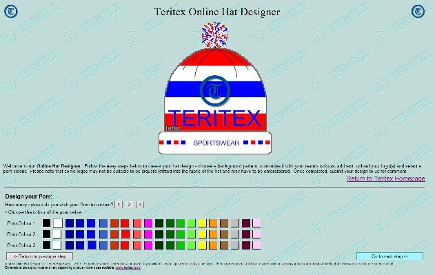 Teritex Online Hat Designer - User Guide - design your own football hat - pom-pom design