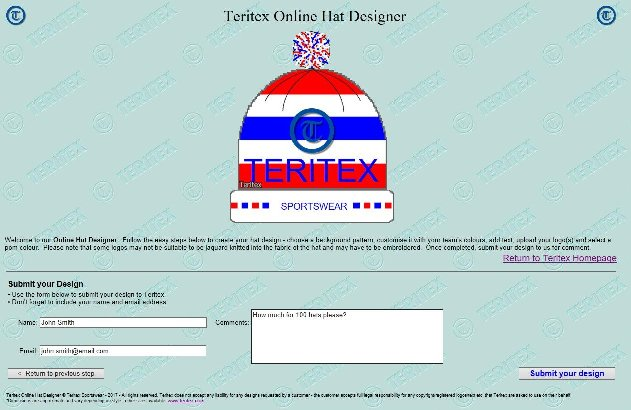 Teritex Online Hat Designer - User Guide - design your own football hat - hat submission process