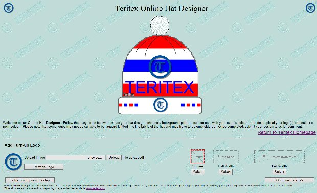 Teritex Online Hat Designer - User Guide - design your own football hat - hat turn-up logo