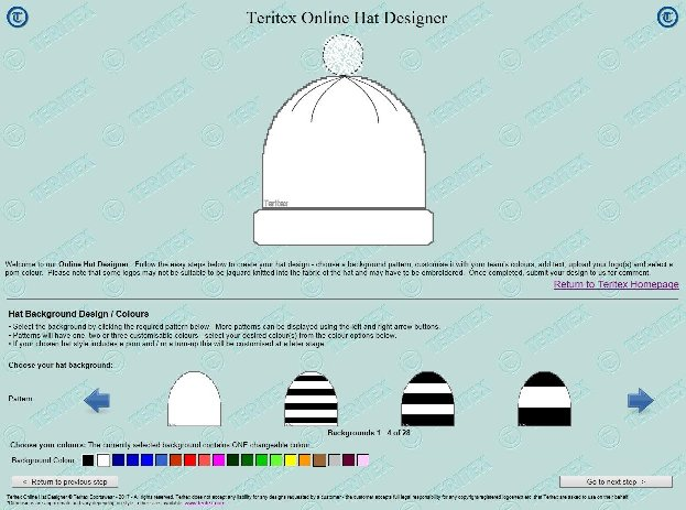 Teritex Online Hat Designer - User Guide - design your own football hat - hat background pattern