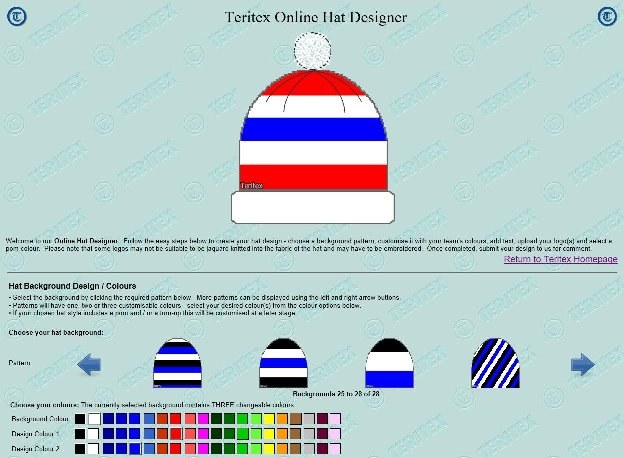 Teritex Online Hat Designer - User Guide - design your own football hat - hat background colour