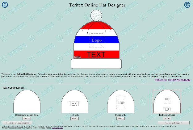 Teritex Online Hat Designer - User Guide - design your own football hat - hat layout