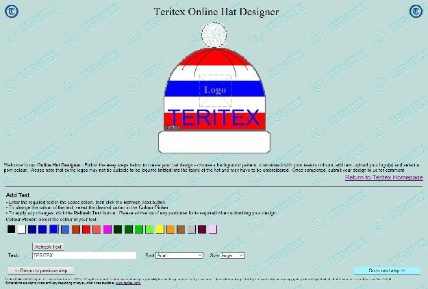 Teritex Online Hat Designer - User Guide - design your own football hat - hat text