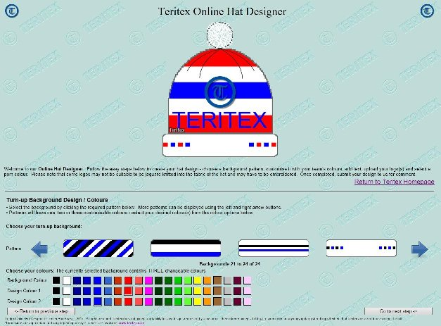 Teritex Online Hat Designer - User Guide - design your own football hat - hat turn-up