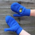 Pair of custom designed football supporters embroidered knitted mittens made by Teritex