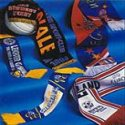 Selection of custom designed knitted and printed football / soccer scarves manufactured by Teritex