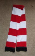 Image of a custom designed chunky knit granny soccer scarf manufactured by Teritex Sportswear