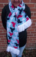 Image of jacquard knitted football scarf manufactured by Teritex - deluxe soft feel with fringe.