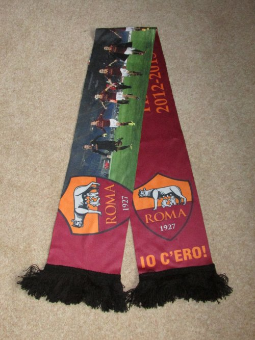 Image of printed football scarf  - top scarf design tip - choose between knitted or printed scarves